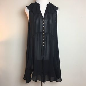 AKEMI+KIN black sheer ruffle tunic dress SZS